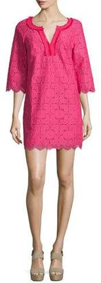 Trina Turk 3/4-Sleeve Lace Tunic Dress, Cerise $189 thestylecure.com
