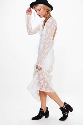 boohoo Lace Tassel Detail Maxi Dress