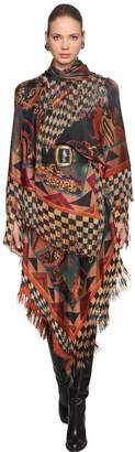 Etro Fringed Jersey Knit Cape Dress