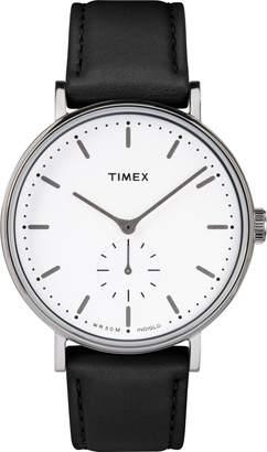 Timex R) Fairfield Leather Strap Watch, 41mm