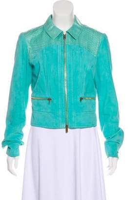 Blumarine Python-Accented Leather Jacket