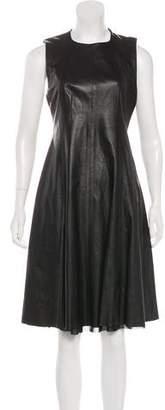 L'Agence Leather Midi Dress