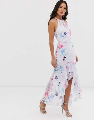 Lipsy halterneck maxi dress with frill in multi floral print