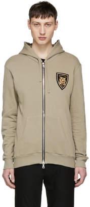 Balmain Khaki Badge Zip Hoodie