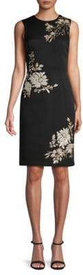 Carmen Marc Valvo Sequin-Embellished Crepe Sheath Dress