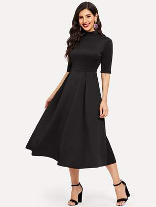 Shein Mock-neck Box Pleated Solid Midi Dress