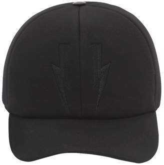 Neil Barrett Bolts Baseball Hat W/ Leather Detail