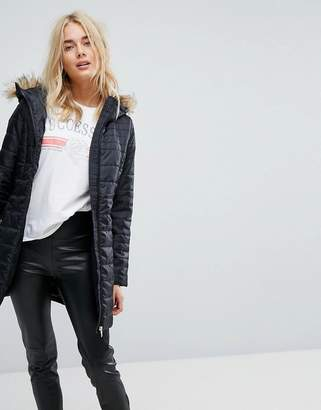 Vero Moda Padded Parka With Faux Fur Hood