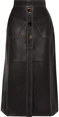 Ellery Aggie Embellished Leather Midi Skirt - Black