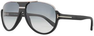 Tom Ford Dimitry Half-Rim Aviator Sunglasses, Matte Black/Shiny Dark Ruthenium/Gradient Blue
