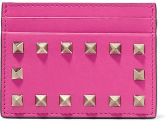 Valentino Garavani The Rockstud Leather Cardholder - Bright pink