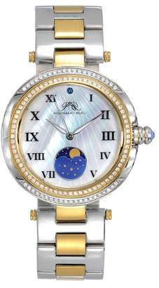 Porsamo Bleu Women's South Sea Crystal Moon Phase Bracelet Watch, 40mm