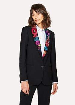 Paul Smith Women's Black Shawl Collar Blazer With 'Ocean' Embroidery