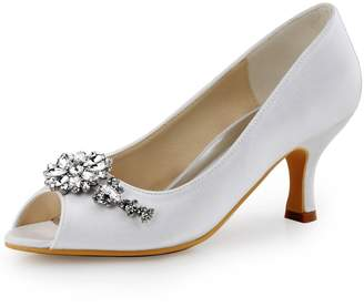 ElegantPark HP1541 Women Satin Peep Toe Flower Rhinestones Chains Mid Heel Pumps Evening Party Prom Shoes US 5