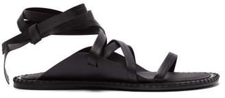 Ann Demeulemeester Wrap Around Leather Sandals - Womens - Black