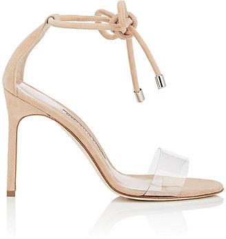 Manolo Blahnik Women's Estro Suede & PVC Ankle-Tie Sandals $745 thestylecure.com