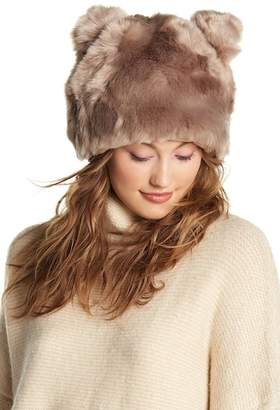 Natasha Accessories Bear Ears Faux Fur Beanie