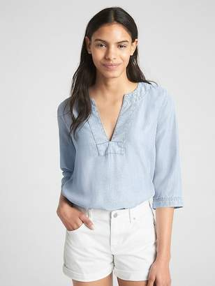 Gap Popover Stripe Split-Neck Top in TENCEL
