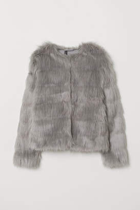 H&M Short Faux Fur Jacket - Gray