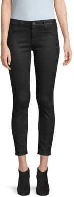Mid-Rise Coated Cropped Skinny Jeans