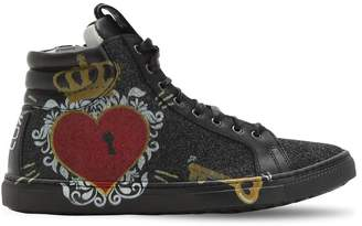 Be Kool Glittered Printed Leather High Sneakers