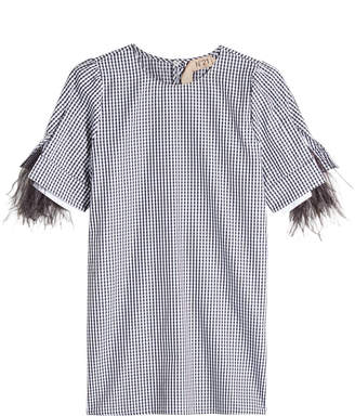 N°21 Plaid Cotton Blouse With Ostrich Feathers