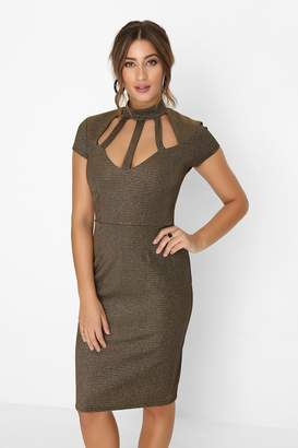 Girls On Film Outlet Outrageous Fortune Gold Cage Bust Dress