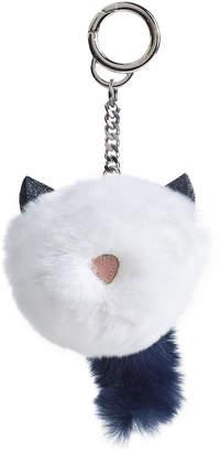 Karl Lagerfeld Glitter Choupette Keychain in Fox Fur