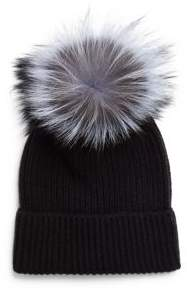 Saks Fifth Avenue Dyed Fox and Cashmere Cap