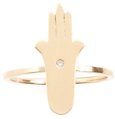 Jennifer Zeuner Jewelry Faith Skinny Hamsa Ring with Diamond in Gold Vermeil