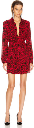 Saint Laurent Long Sleeve Leopard Mini Dress in Red & Black | FWRD