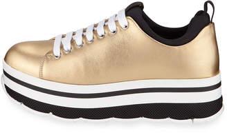 Prada Metallic Platform Low-Top Sneakers