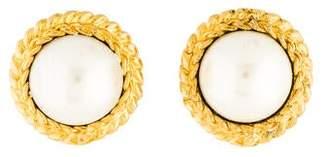 Chanel Faux Pearl Clip-On Earrings