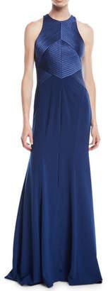 Halston Halter Gown w/ Satin Stripe Bodice