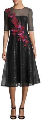 Rickie Freeman For Teri Jon Sheer 3D Floral Sequin A-Line Cocktail Dress