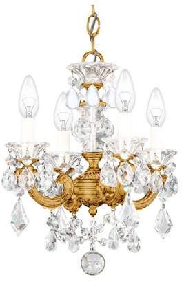 Schonbek La Scala 4-Light Chandelier in Parchment Gold With Clear Heritage Crystal