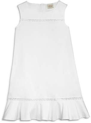 Armani Junior Girls' Cotton Poplin Dress with Logo Embroidery - Big Kid