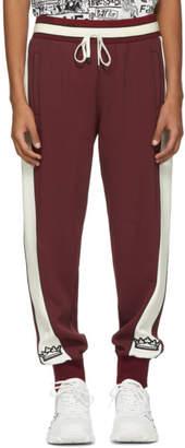 Dolce & Gabbana Burgundy and White Stripe Lounge Pants