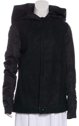 Rick Owens Hooded Leather & Silk Coat