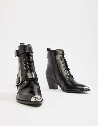 Asos Design DESIGN Rhythmic premium leather western lace up boots