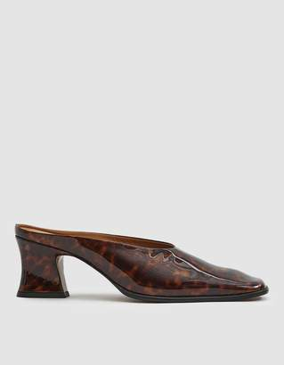 By Far Shoes Kim Square Toe Mule in Tortoise Patent