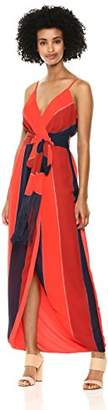 Nicole Miller New York Women's Fringe Faux Wrap Cocktail Dress