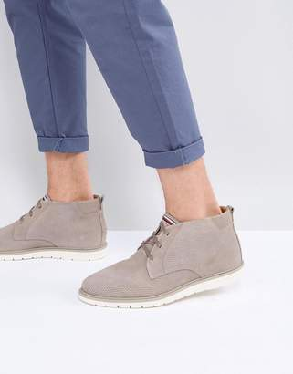 Tommy Hilfiger Joseph Perforated Suede Desert Boots in Stone