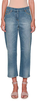 Valentino Rockstud Boyfriend-Fit Jeans, Denim
