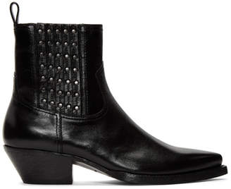 Saint Laurent Black Studs Lukas Boots