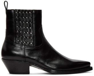 Saint Laurent Black Studs Lukas Boots