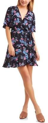 Paper Tee Juniors' Short Sleeve Wrap Dress