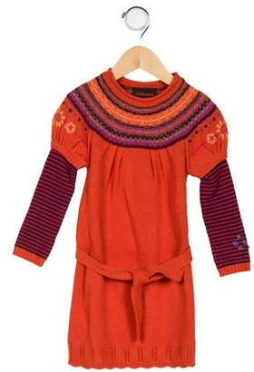 Catimini Girls' Long Sleeve Sweater Dress