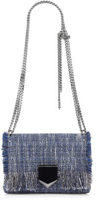 Jimmy Choo LOCKETT PETITE Navy Frayed Metallic Tweed Shoulder Bag