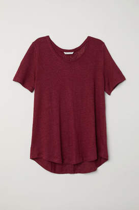 H&M Linen Scoop-neck Top - Red